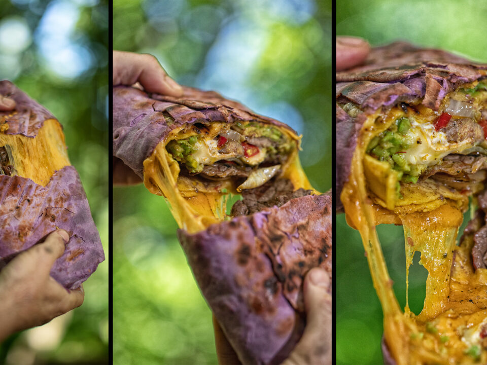 Gigantic Double Cheese Burrito - Cooking on Fire