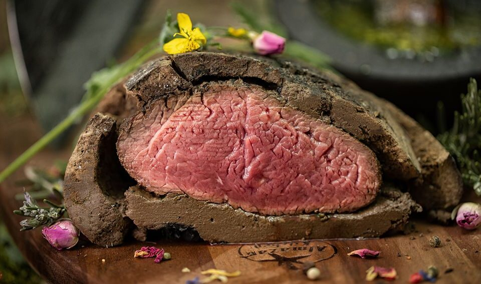 Baking Meat Packed in Clay - Most Perfect Steak