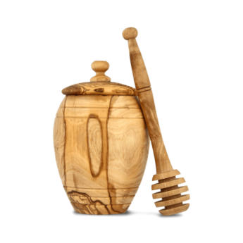 Olive Wood Honey Jar with Dipper
